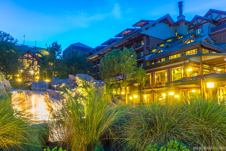 wilderness lodge outdoors night